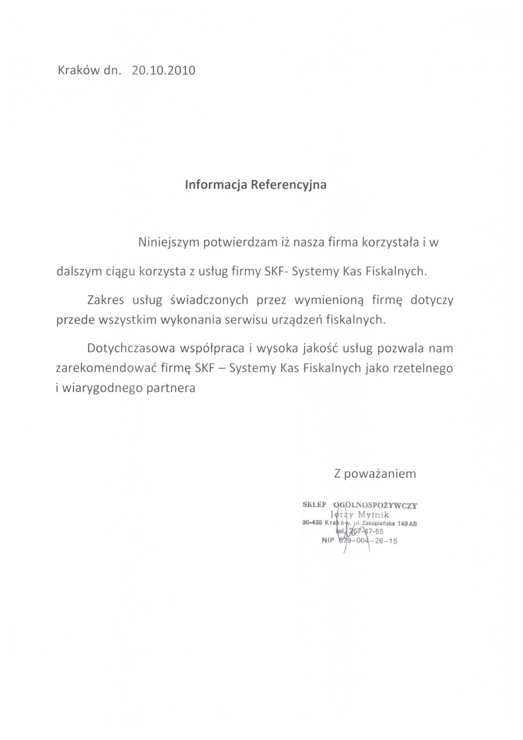 Sklep Ogólnospożywczy Jerzy Mytnik