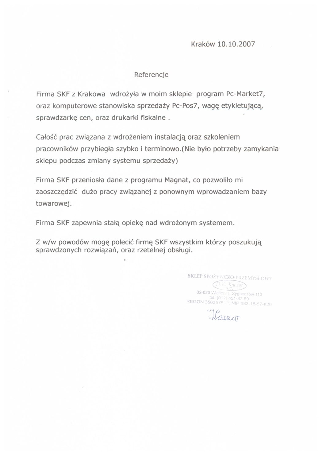 Sklep Spożywczo-Przemysłowy D.K. Kaczor